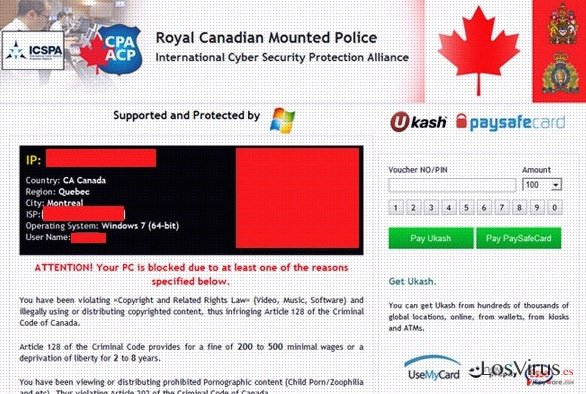 Royal Canadian Mounted Police Ukash virus foto