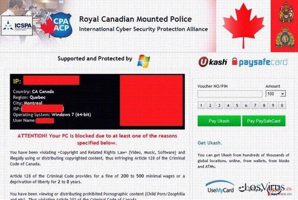 Royal Canadian Mounted Police Ukash virus foto