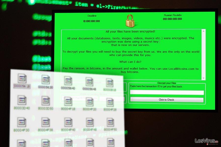 La imagen del virus ransomware RussianRoulette