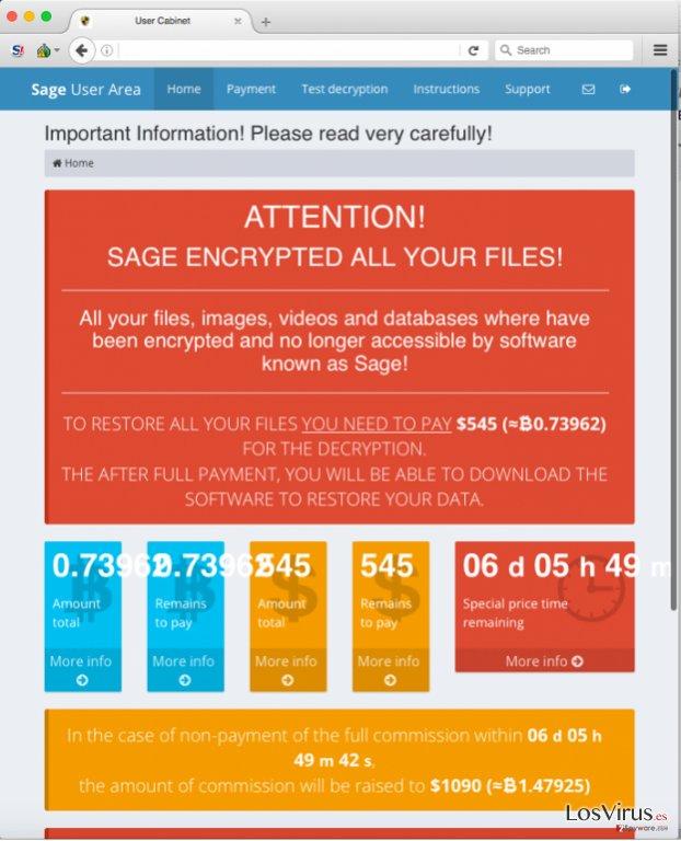 El virus ransomware Sage foto