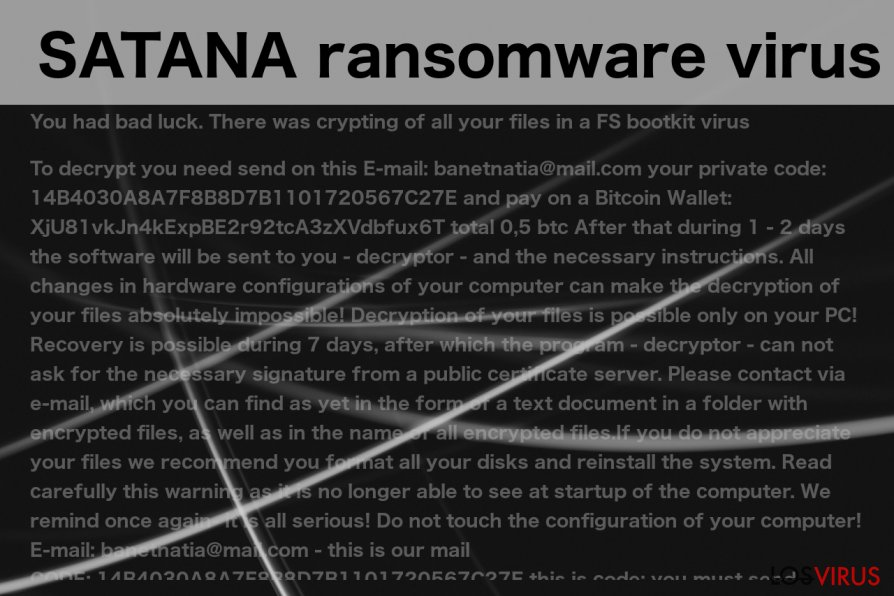 An image of the SATANA virus ransom note