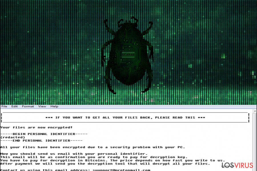 Virus ransomware Scarab foto