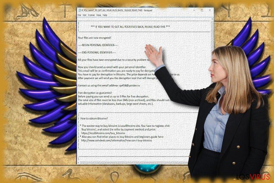 La imagen que muestra el archivo de texto del malware Scarab
