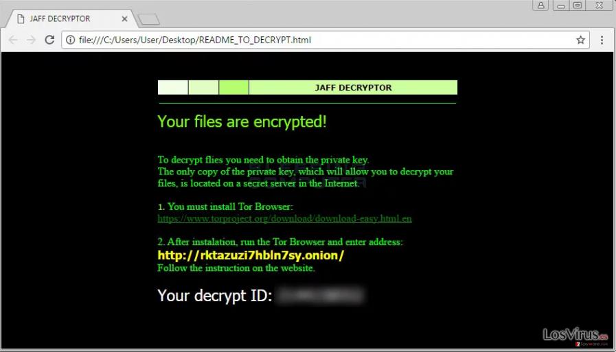 El virus ransomware Jaff foto