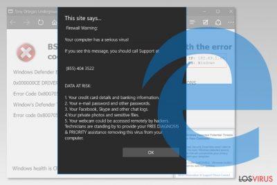 Pantallazo del virus de Microsoft Edge
