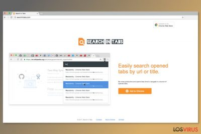 Pantallazo de la página de descarga de Search In Tabs