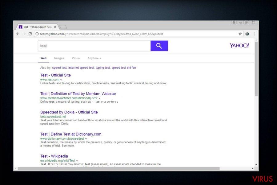 El programa potencialmente no deseado Search.yahoo.com