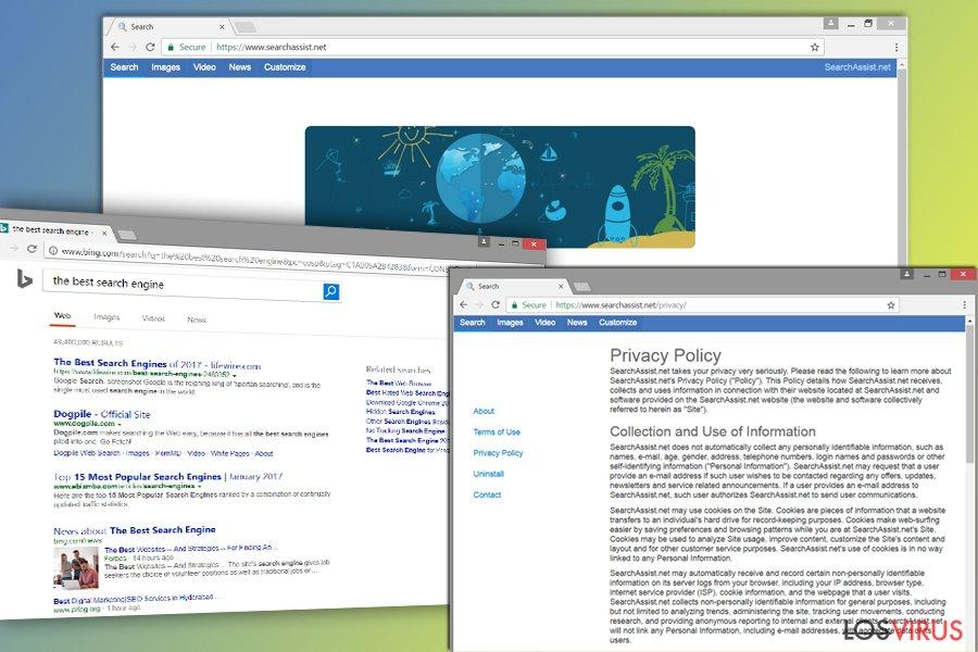La imagen del hacker de navegador SearchAssist.net