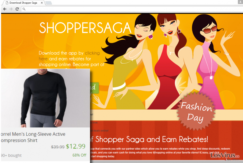 ShopperSaga ads example and the official website of it