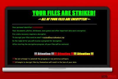 Pantallazo de la nota de pago del ransomware Striked