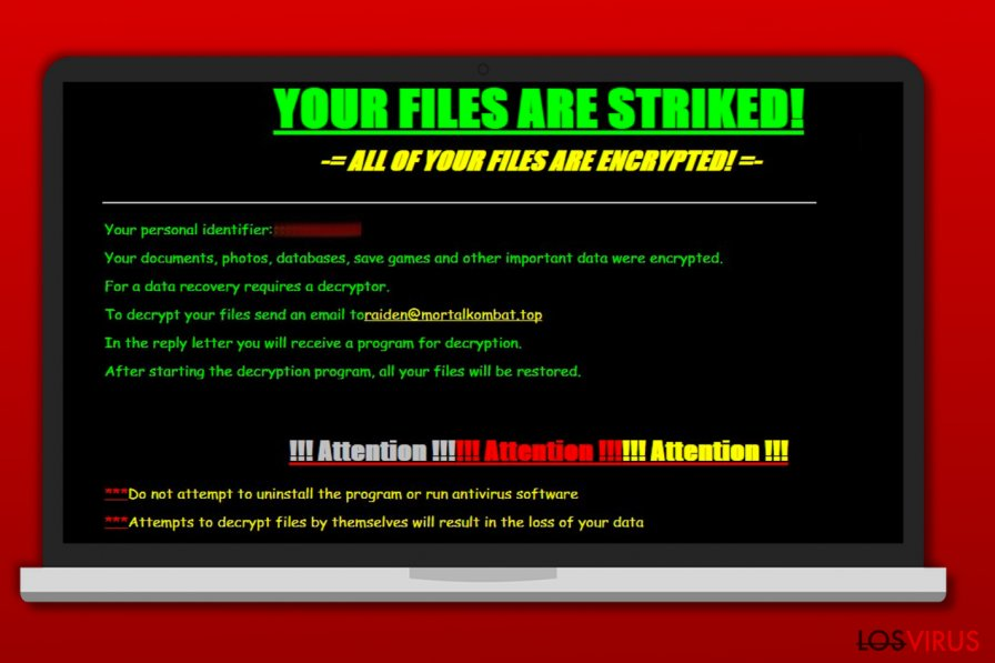 Screenshot of Striked ransomware ransom note