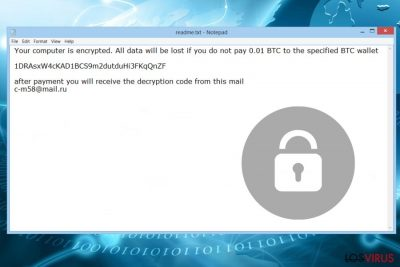 Ransomware Thanatos - la nota de pago