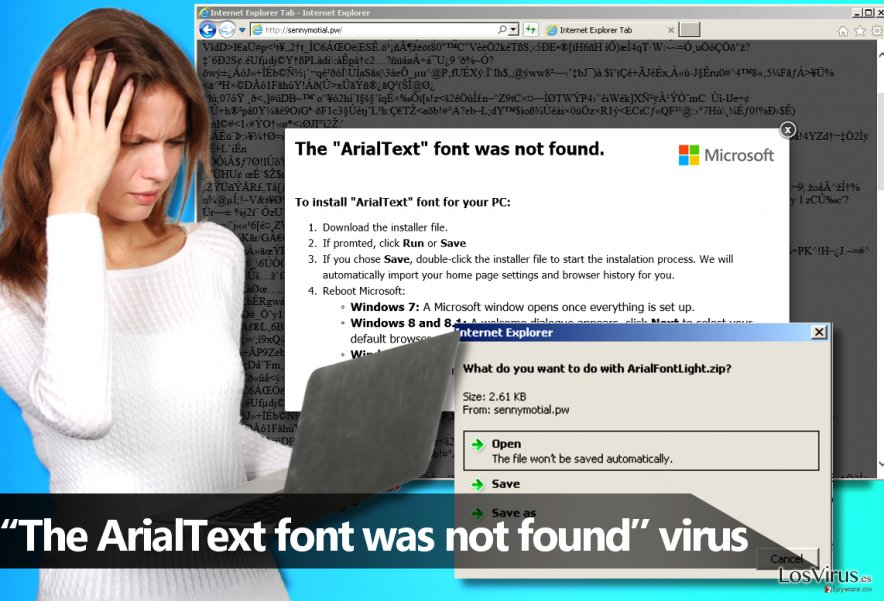 "El malware ""The ArialText font was not found"""