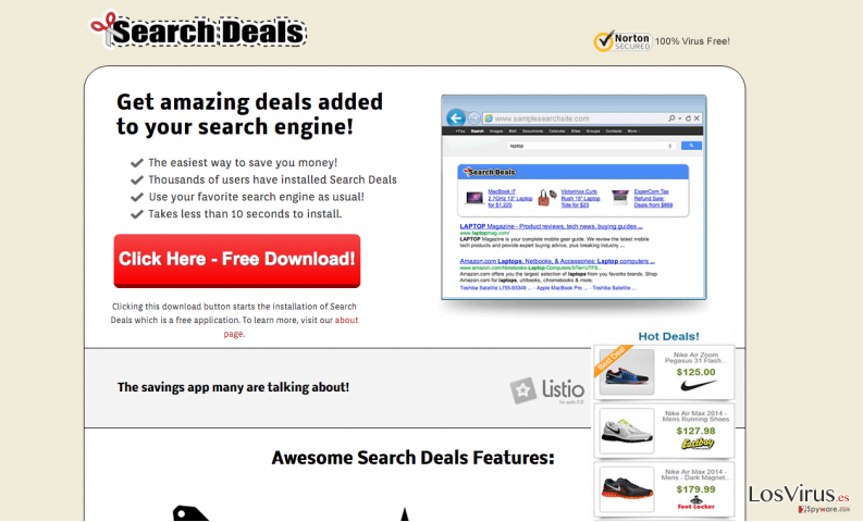 The main page of Search Deals and ads caused by this program
