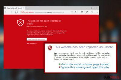 """Virus """"Esta página web ha sido denunciada como insegura"""""""