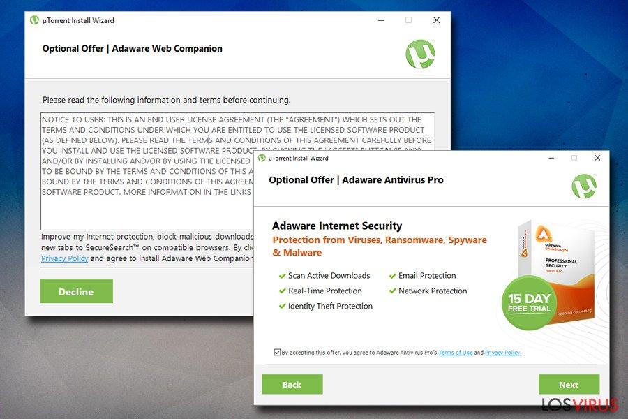 Virus Torrent en paquetes de programas