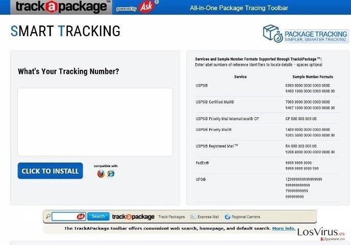 TrackAPackage Toolbar foto