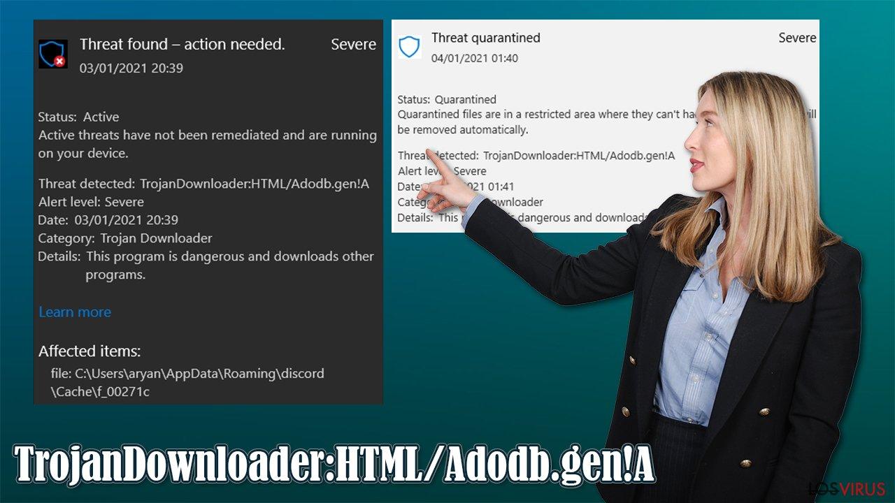 Virus TrojanDownloader:HTML/Adodb.gen!A