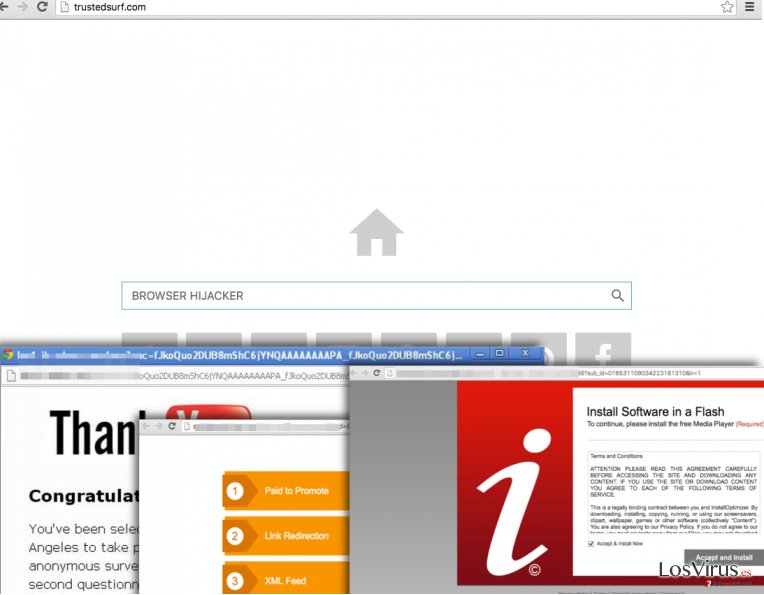 Trusted Surf browser hijacker sets a new homepage and triggers redirects