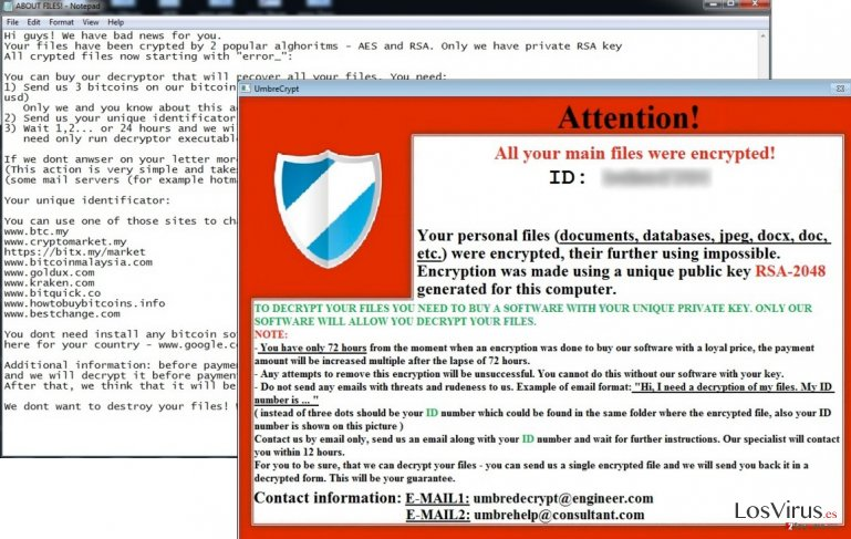 UmbreCrypt Ransomware screenshot example