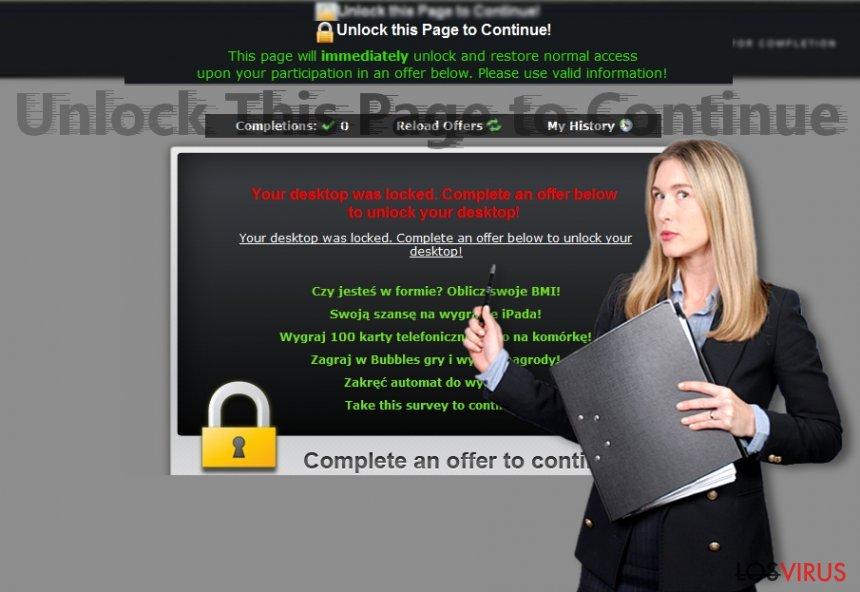 """La imagen que revela las alertas de """"Unlock this Page to Continue!"""""""