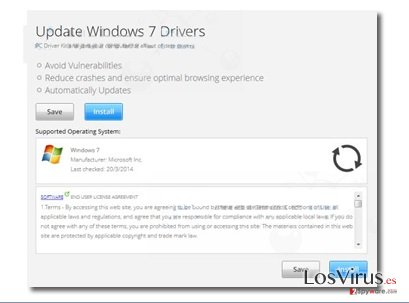 "Los anuncios pop-up ""Update Windows 7 Drivers"" foto"