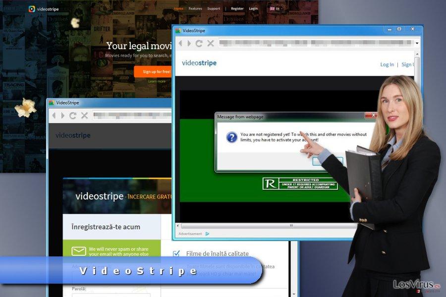 El ejemplo de anuncios pop-up de VideoStripe