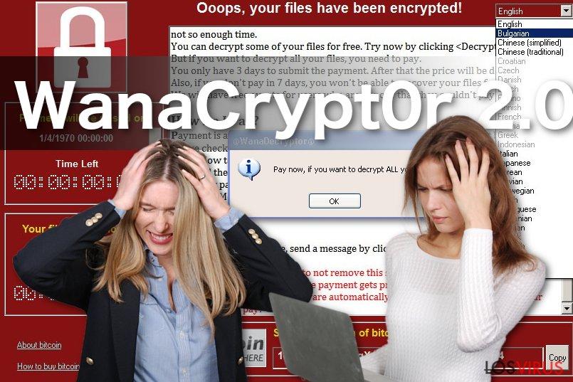 Imagen del virus ransomware WanaCrypt0r 2.0
