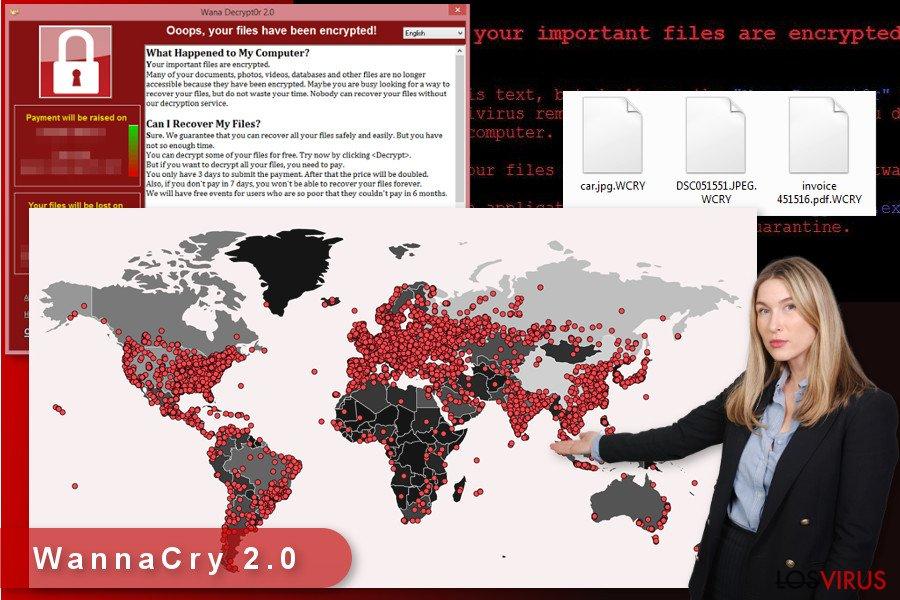 Ilustración del virus ransomware WannaCry 2.0