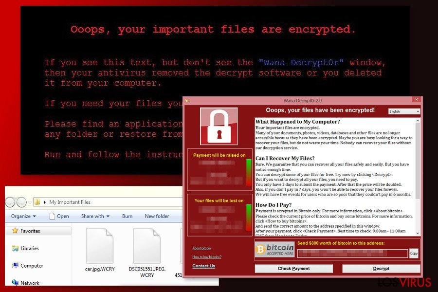 The image of WannaCry 2.0 ransomware virus