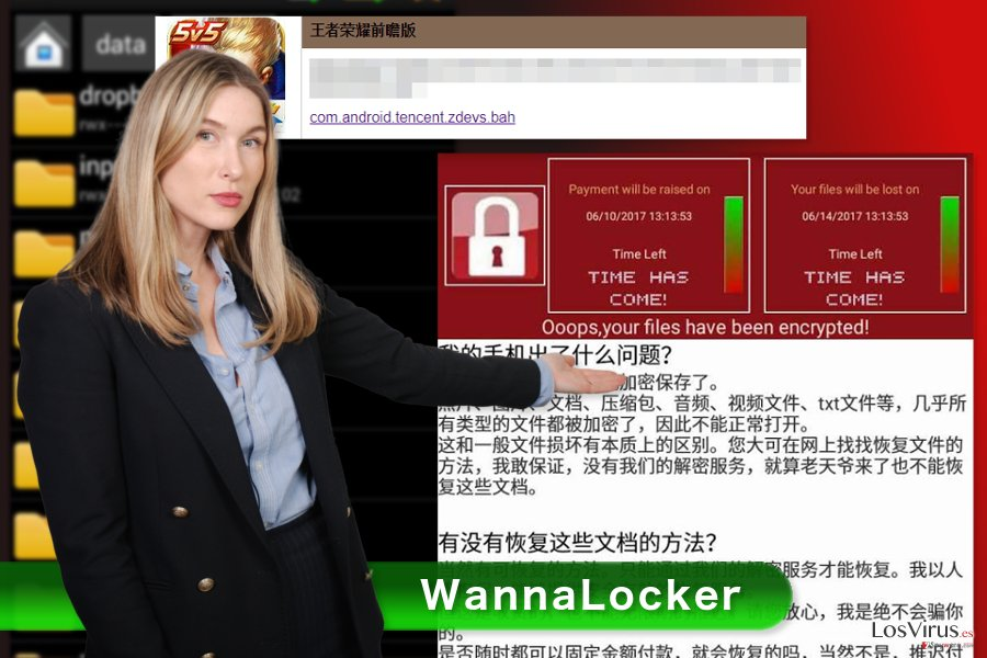 Imagen del virus ransomware WannaLocker