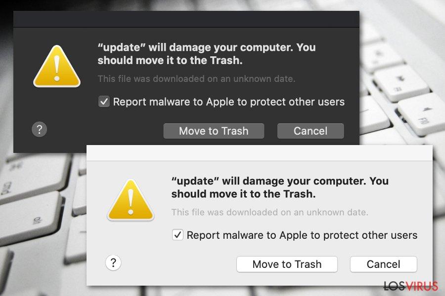 """Nota """"Dañará tu ordenador. Deberías moverlo a la Papelera"""""""