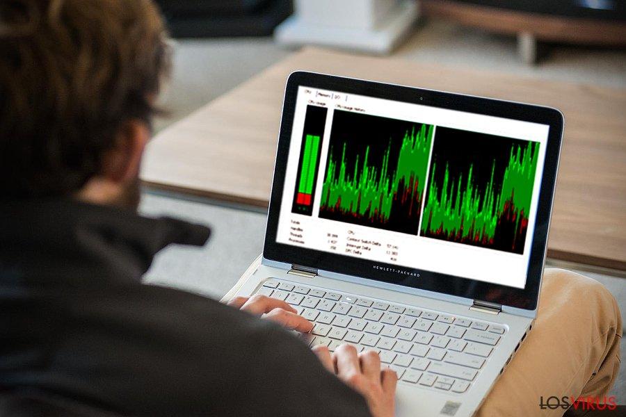 La imagen que imita el uso del CPU de Win32.CoinMiner