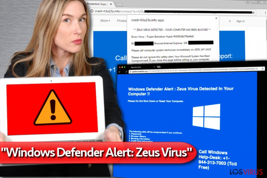 "La estafa de soporte técnico ""Windows Defender Alert: Zeus Virus"" foto"