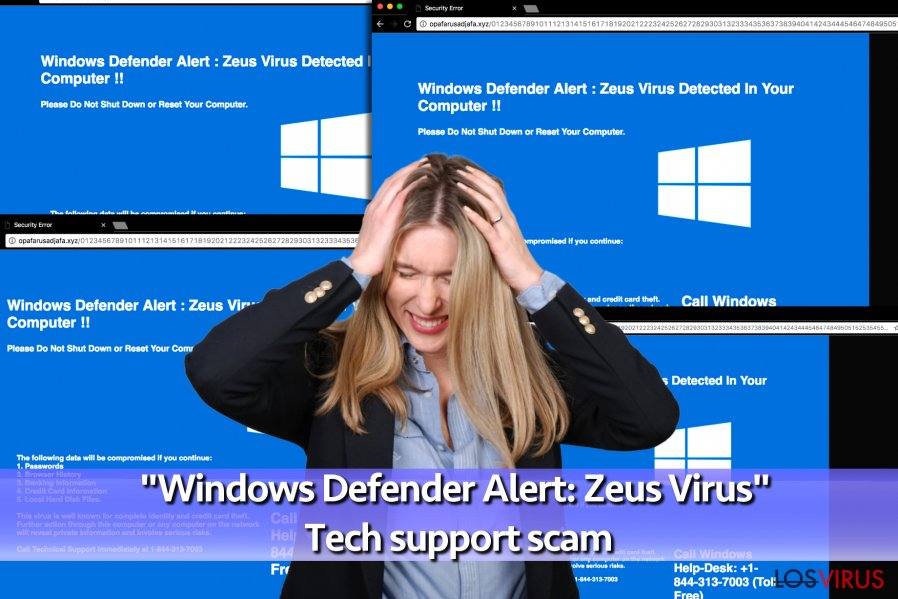 "El virus estafa de soporte técnico ""Windows Defender Alert: Zeus Virus"""