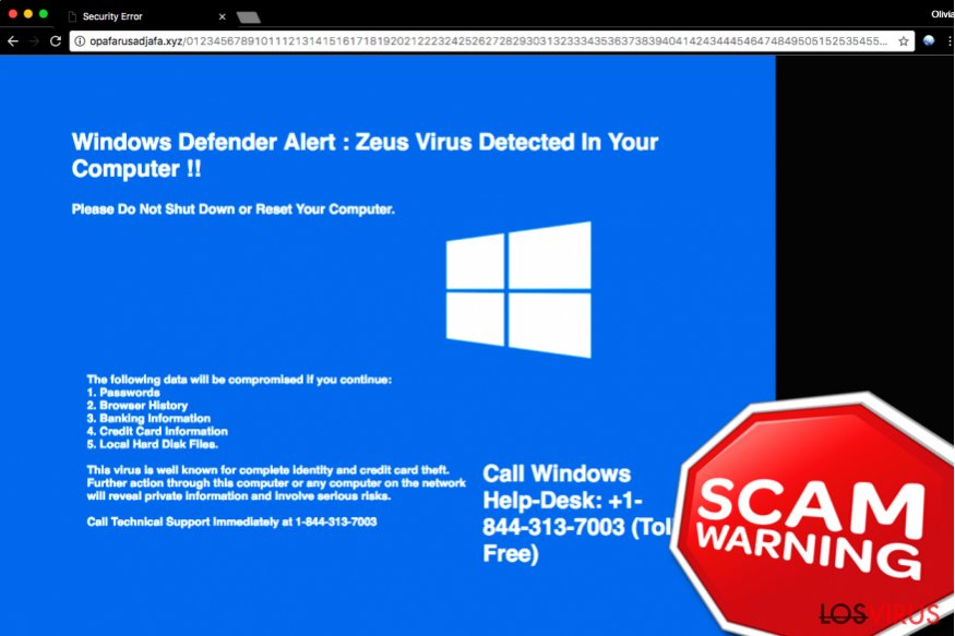 "La estafa de soporte técnico ""Windows Defender Alert: Zeus Virus"""