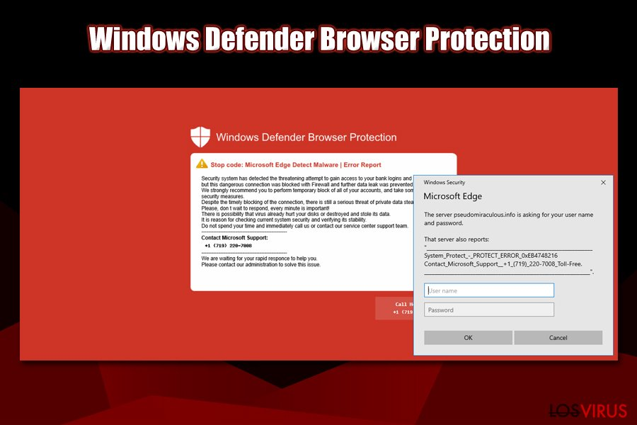 Pantalla roja de Windows Defender Browser Protection