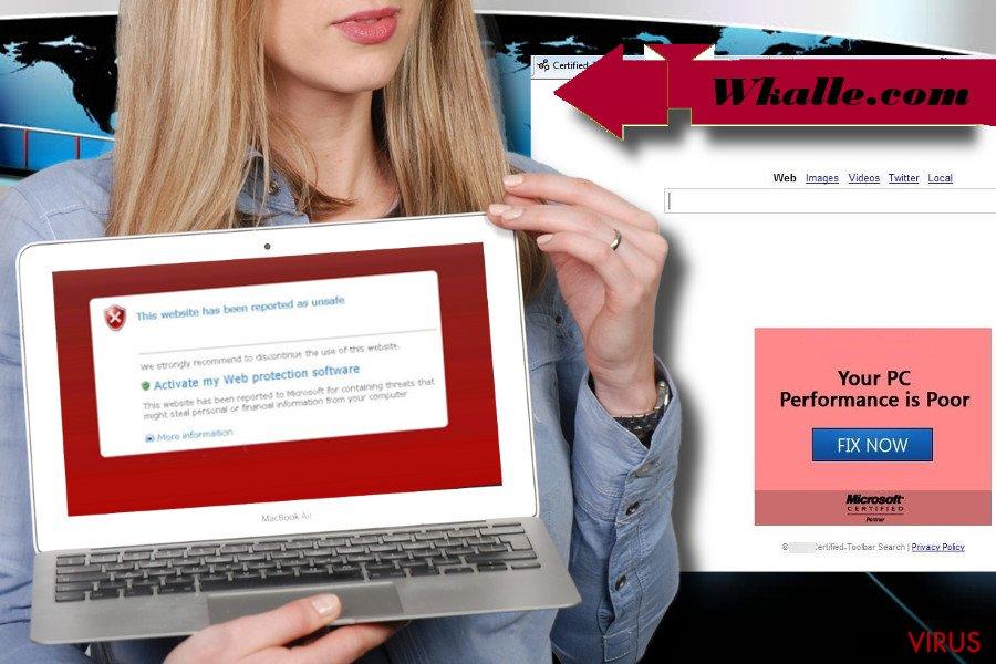 El hacker de navegador Wkalle.com ilustrado