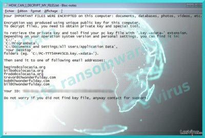 La imagen que muestra el virus XData