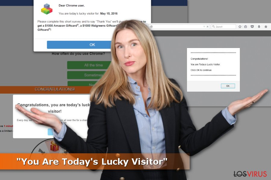 "Ejemplos de estafas ""You Are Today's Lucky Visitor"""