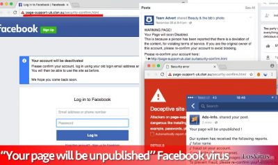 """Virus """"Your page will be unpublished"""""""