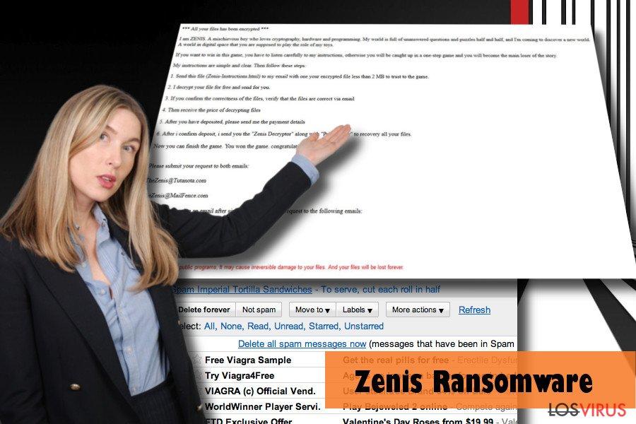 PC afectado con el virus Zenis: ejemplo