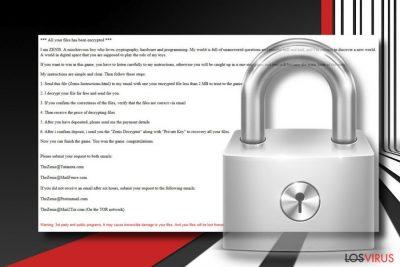 Pantallazo del virus ransomware Zenis