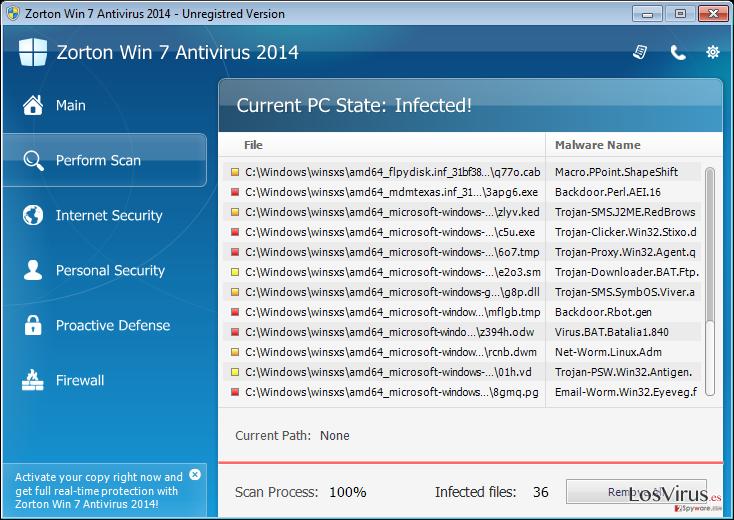 Zorton Win 7 Antivirus 2014 foto
